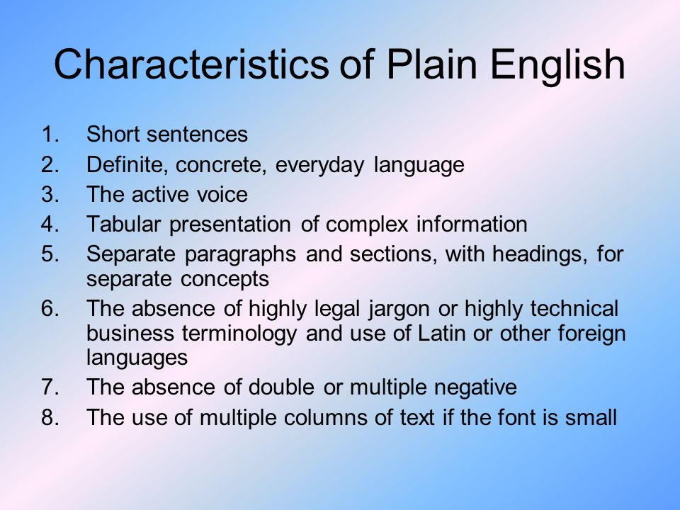 Characteristics of Plain English