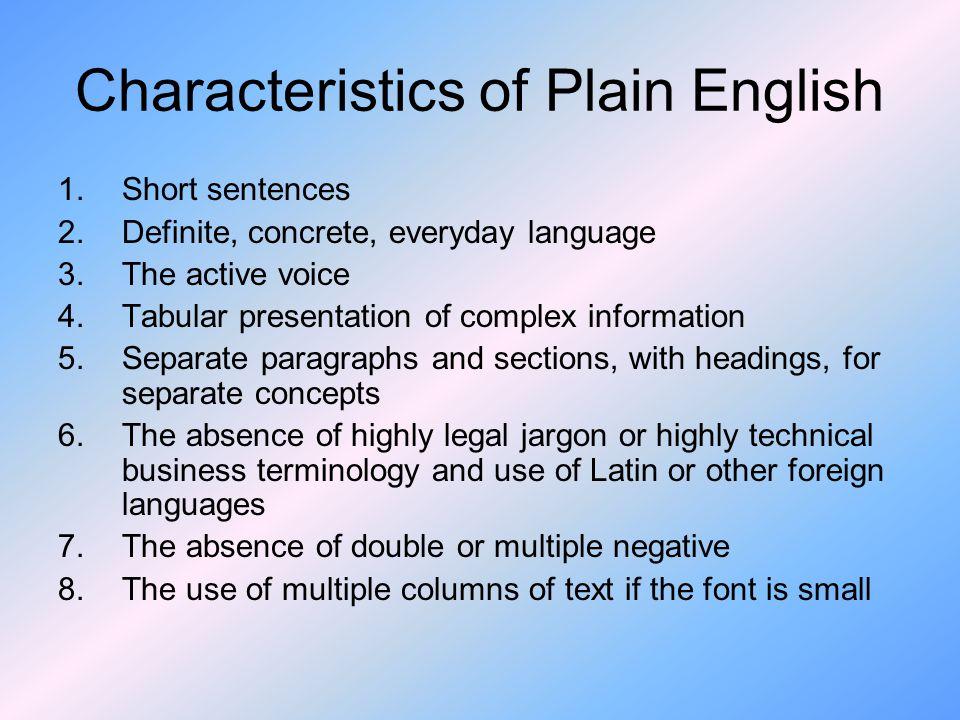 Characteristics of Plain English