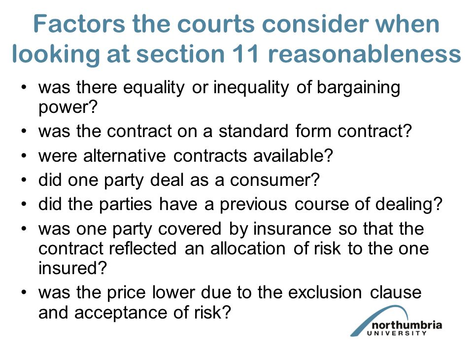 the functions of the exclusion and exemption clauses