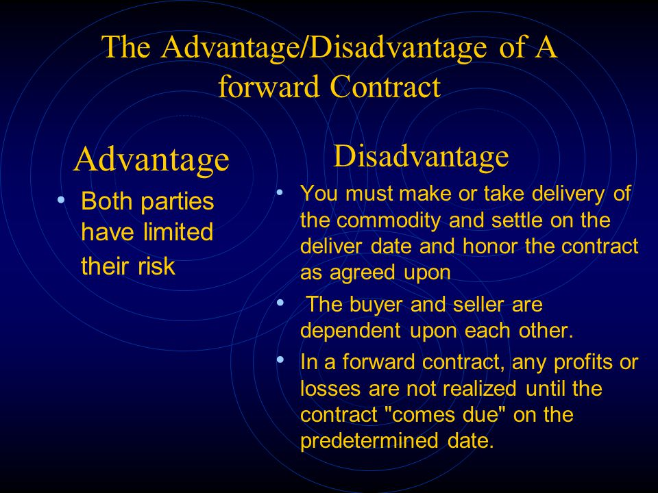 The Advantage/Disadvantage of A forward Contract
