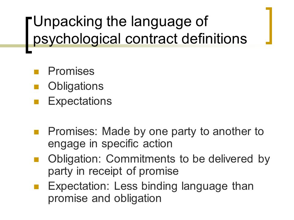 Unpacking the language of psychological contract definitions