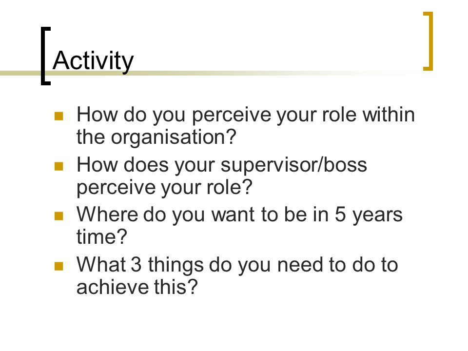 Activity How do you perceive your role within the organisation