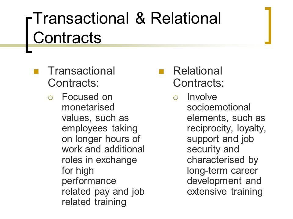 Transactional & Relational Contracts