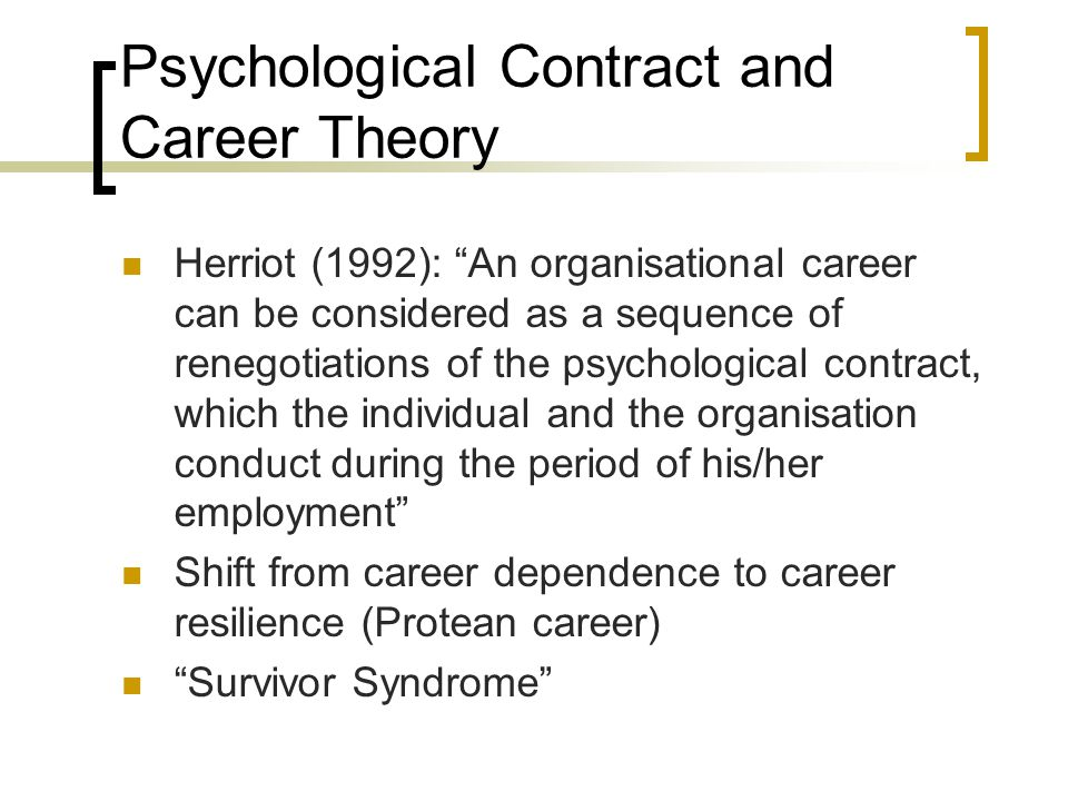 pyschological contract The psychological contract describes the perceptions of the relationship between employers and workers, and influences how people behave in organisations.