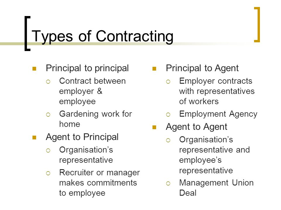Types of Contracting Principal to principal Agent to Principal