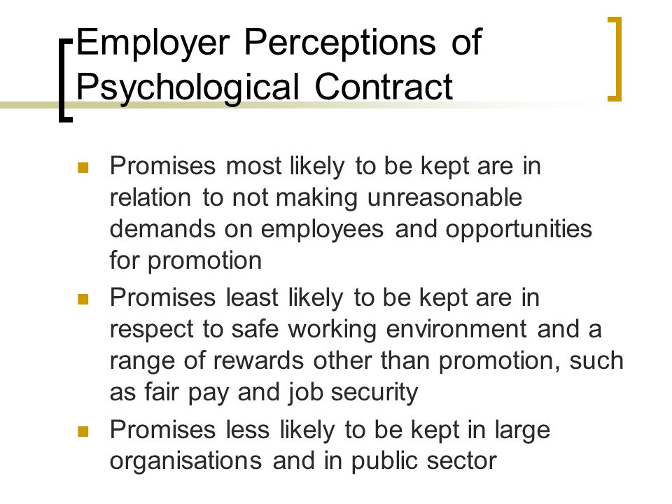 Employer Perceptions of Psychological Contract