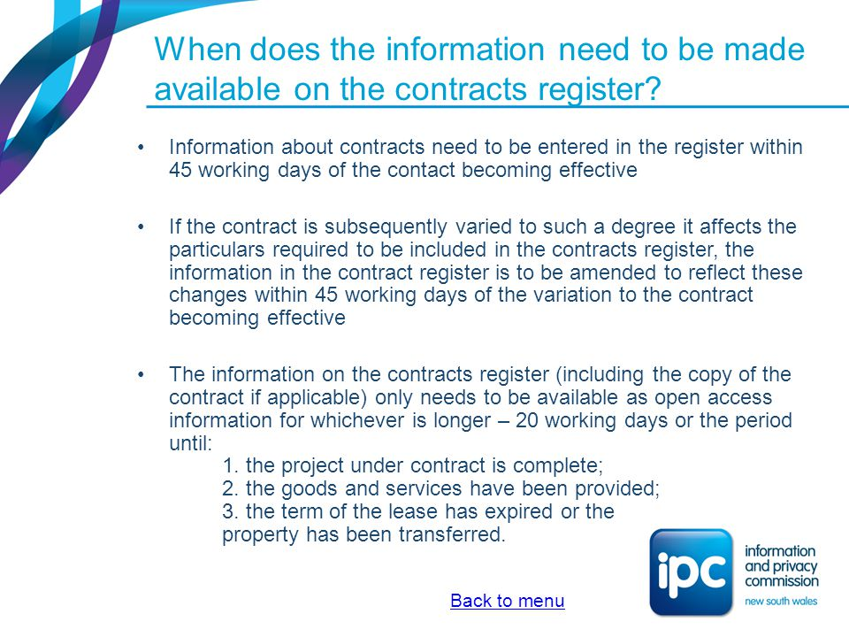 When does the information need to be made available on the contracts register