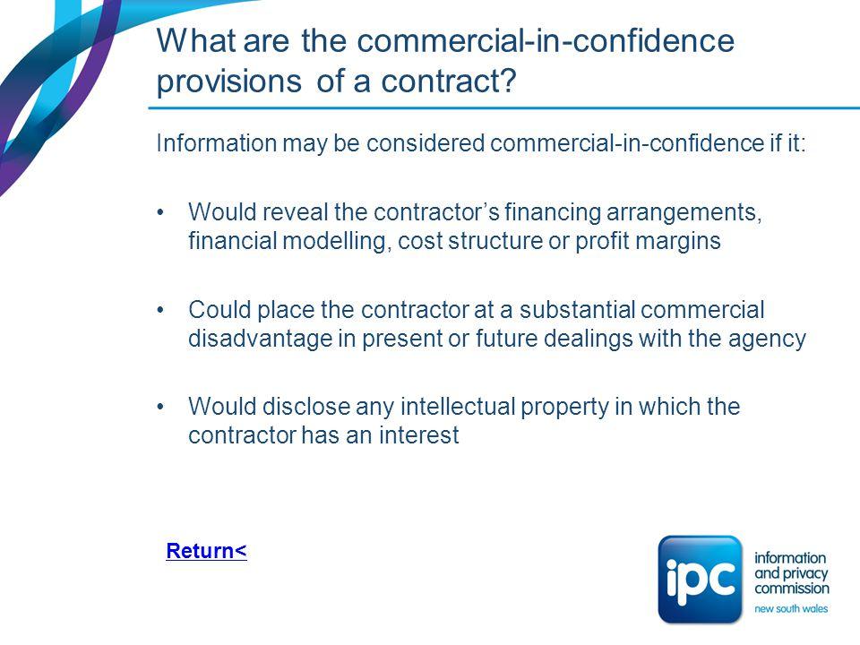 What are the commercial-in-confidence provisions of a contract