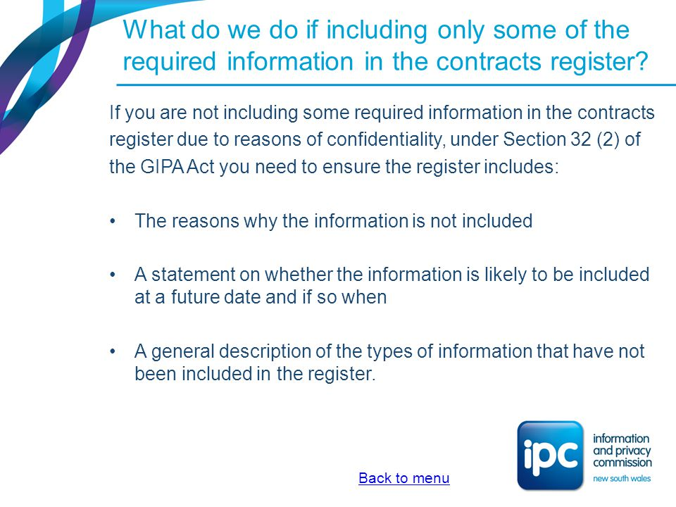 What do we do if including only some of the required information in the contracts register
