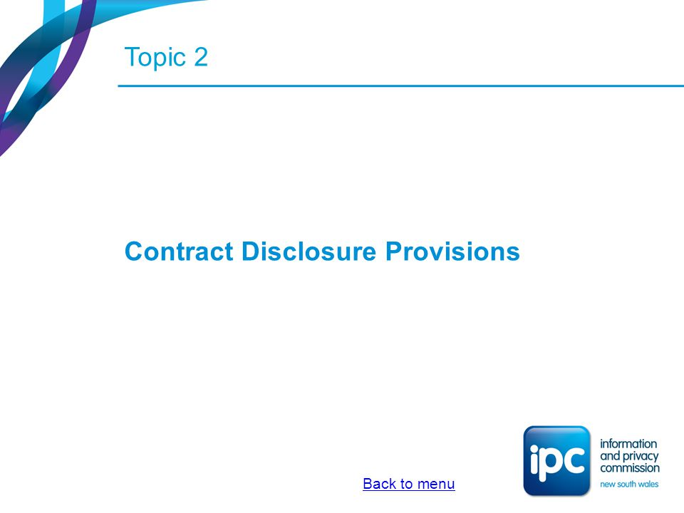 Contract Disclosure Provisions