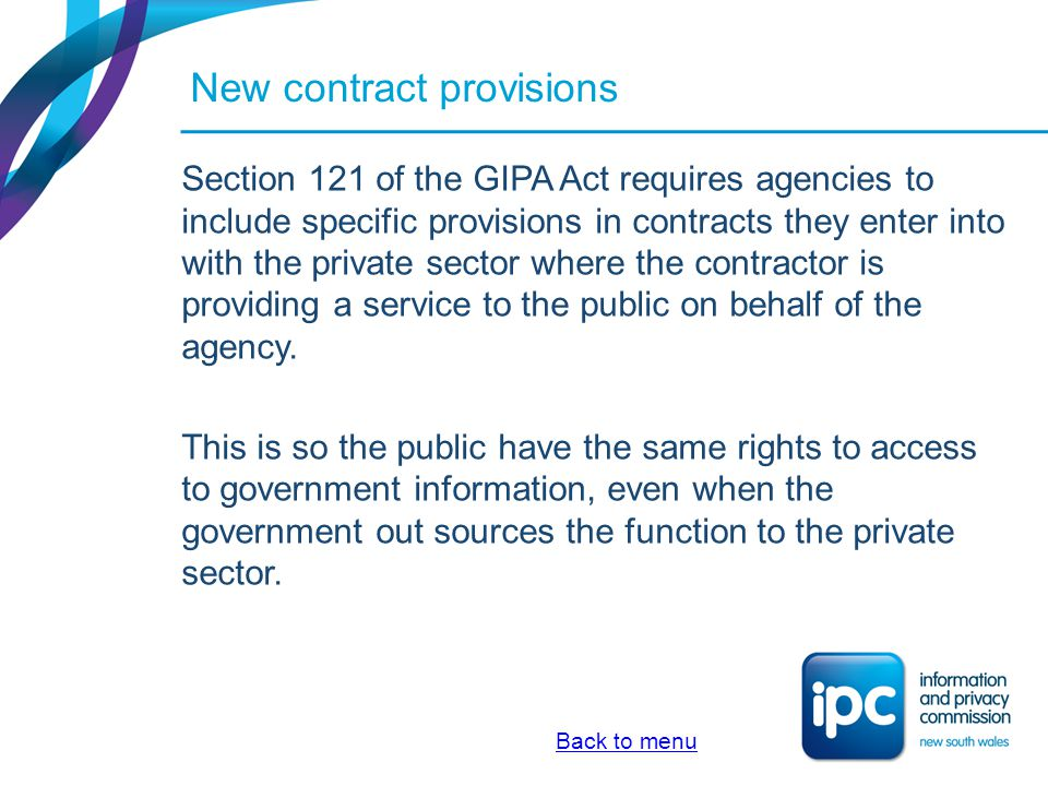 New contract provisions