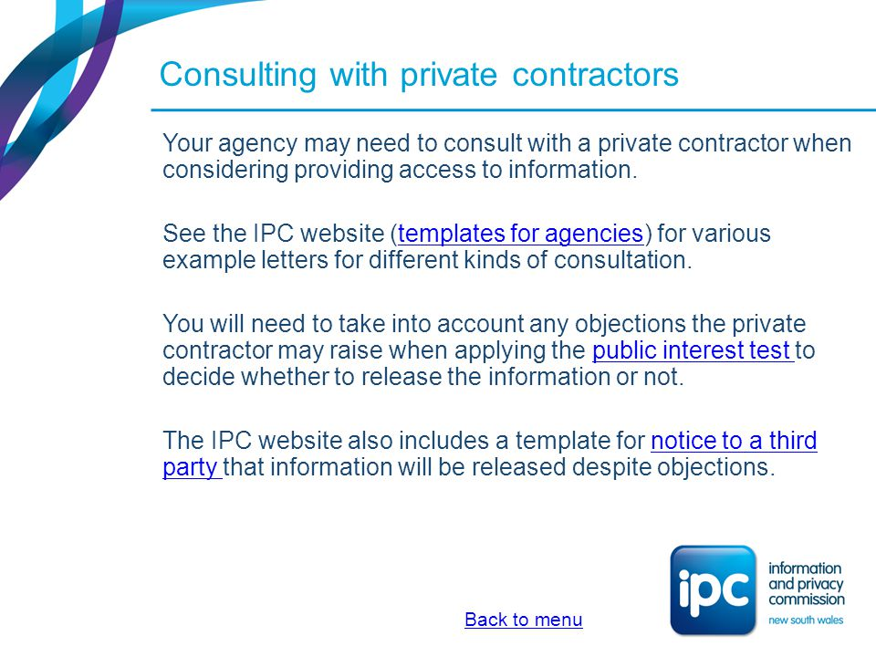 Consulting with private contractors