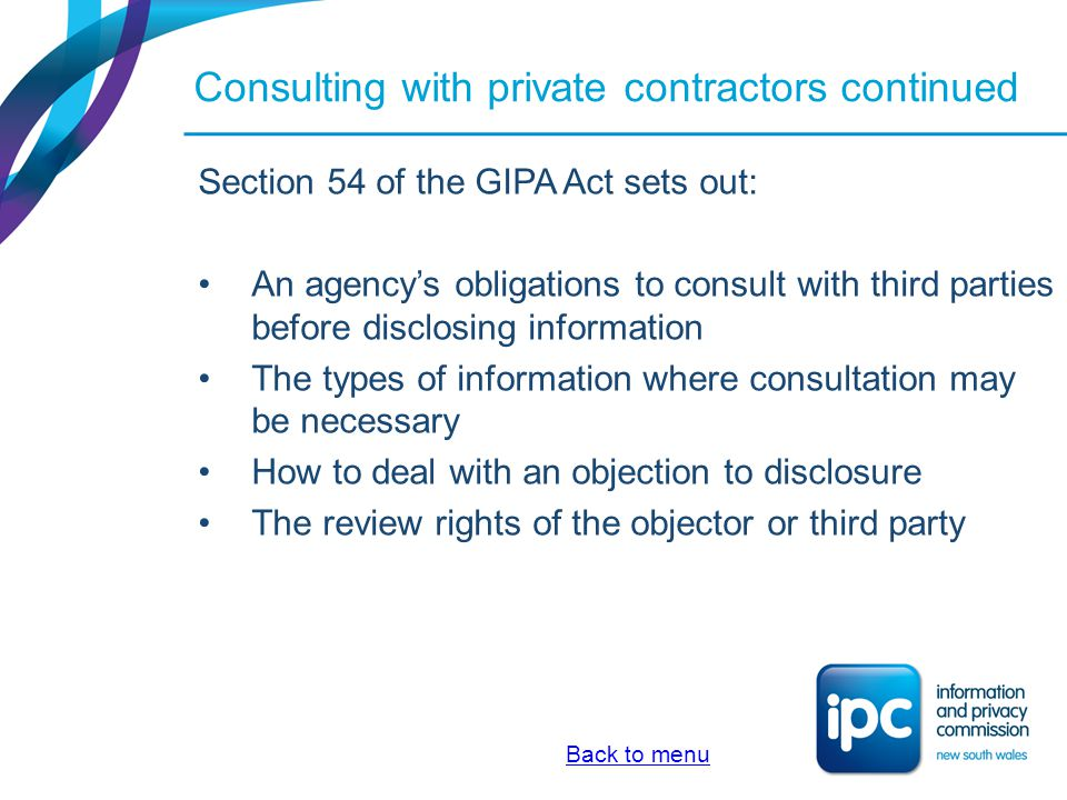 Consulting with private contractors continued