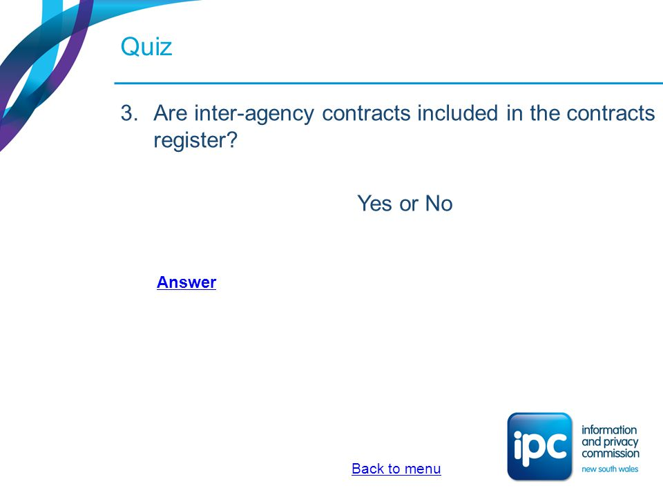 Quiz Are inter-agency contracts included in the contracts register