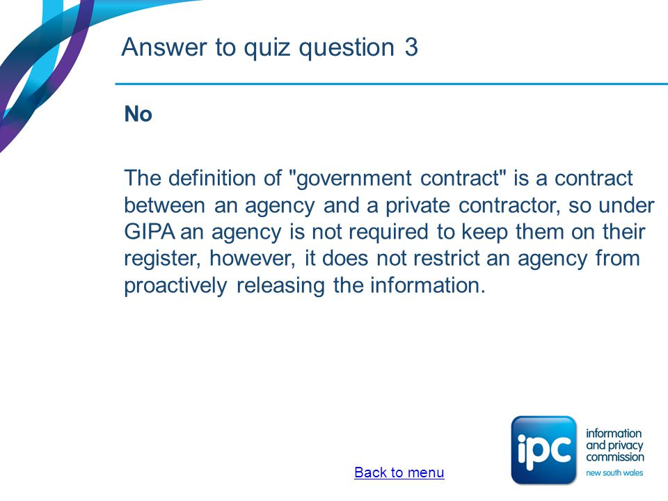 Answer to quiz question 3