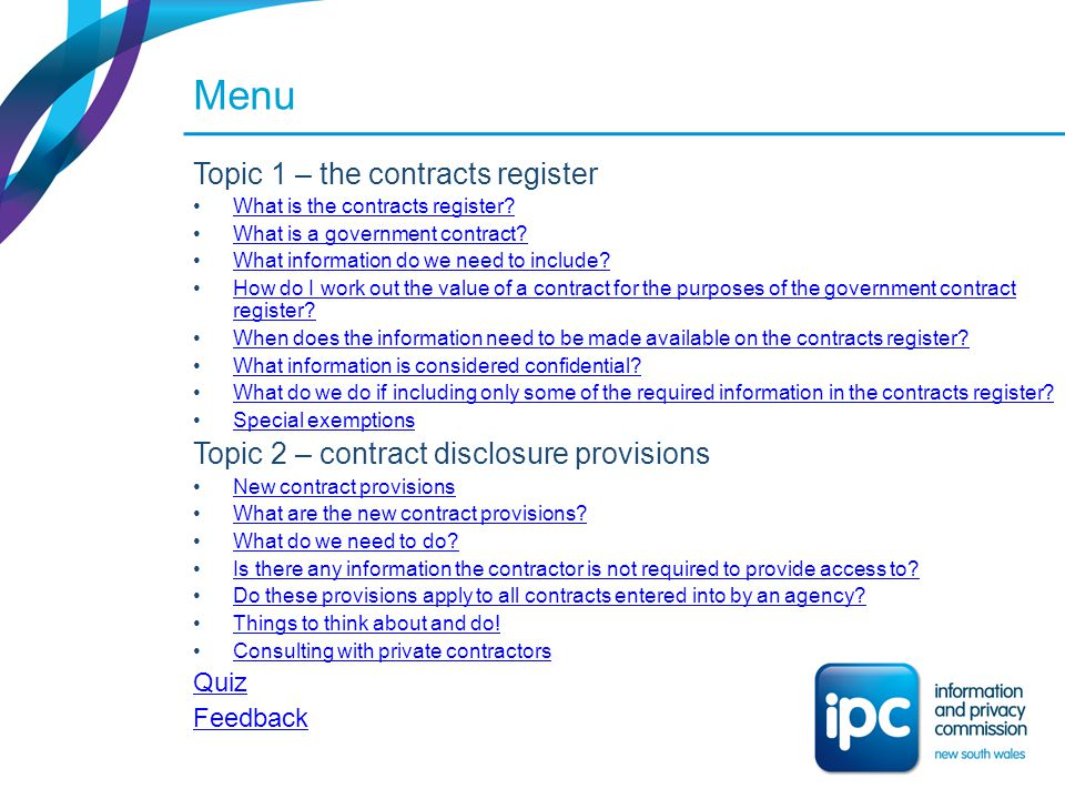 Menu Topic 1 – the contracts register