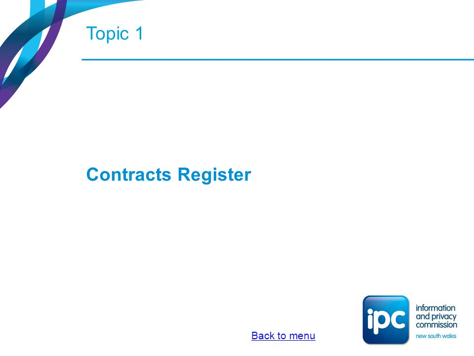 Topic 1 Contracts Register Back to menu