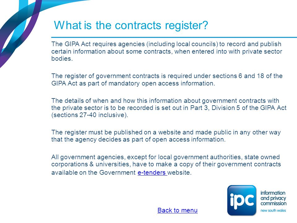 What is the contracts register