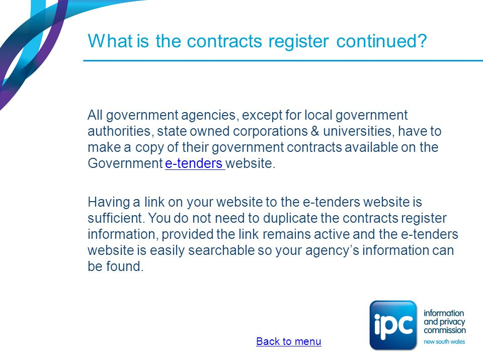 What is the contracts register continued