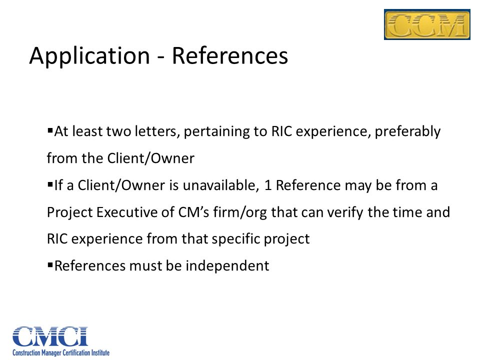 Application - References