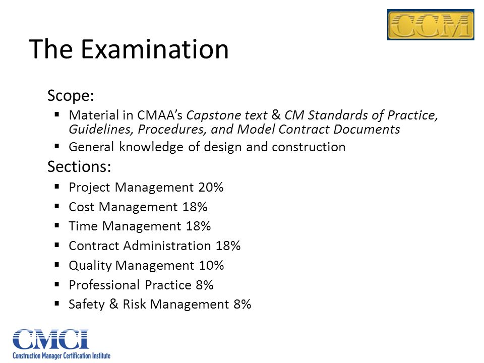 The Examination Scope: Sections:
