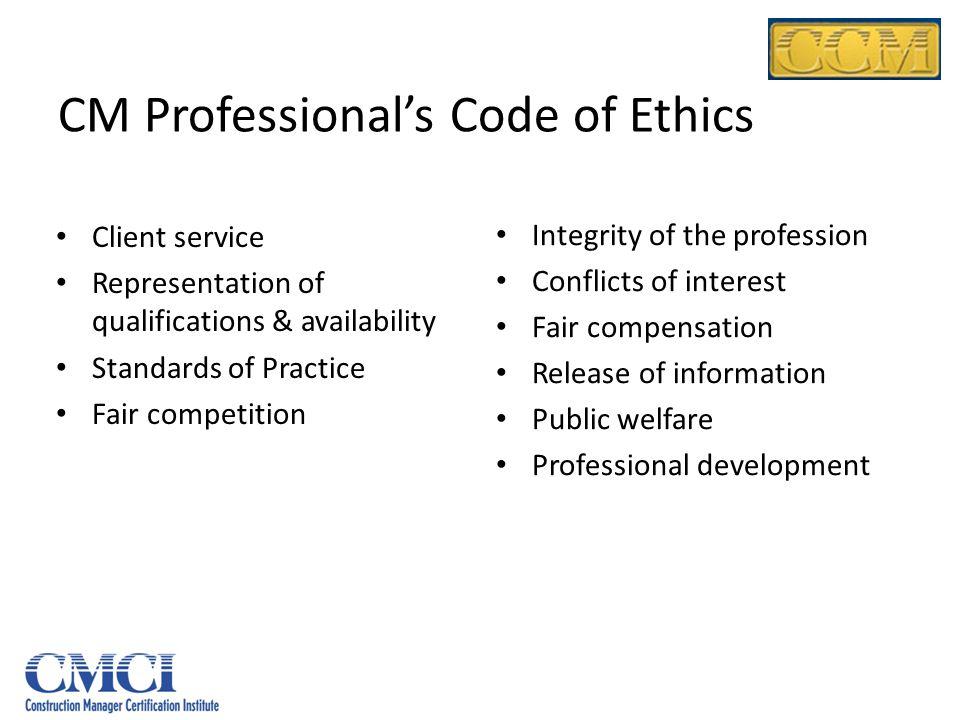 CM Professional's Code of Ethics
