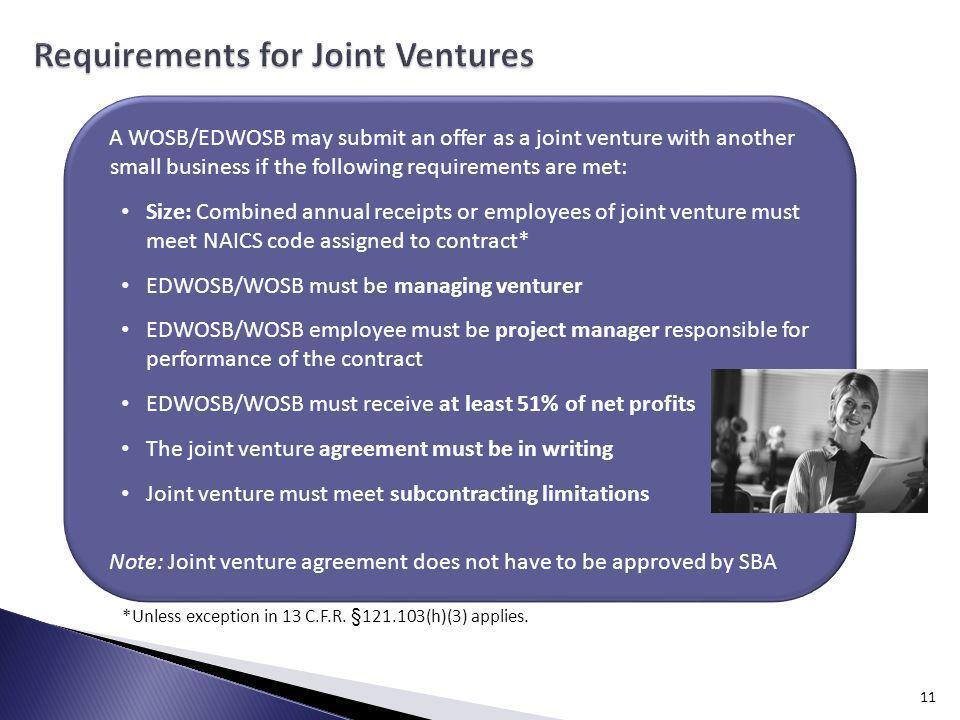 Requirements for Joint Ventures