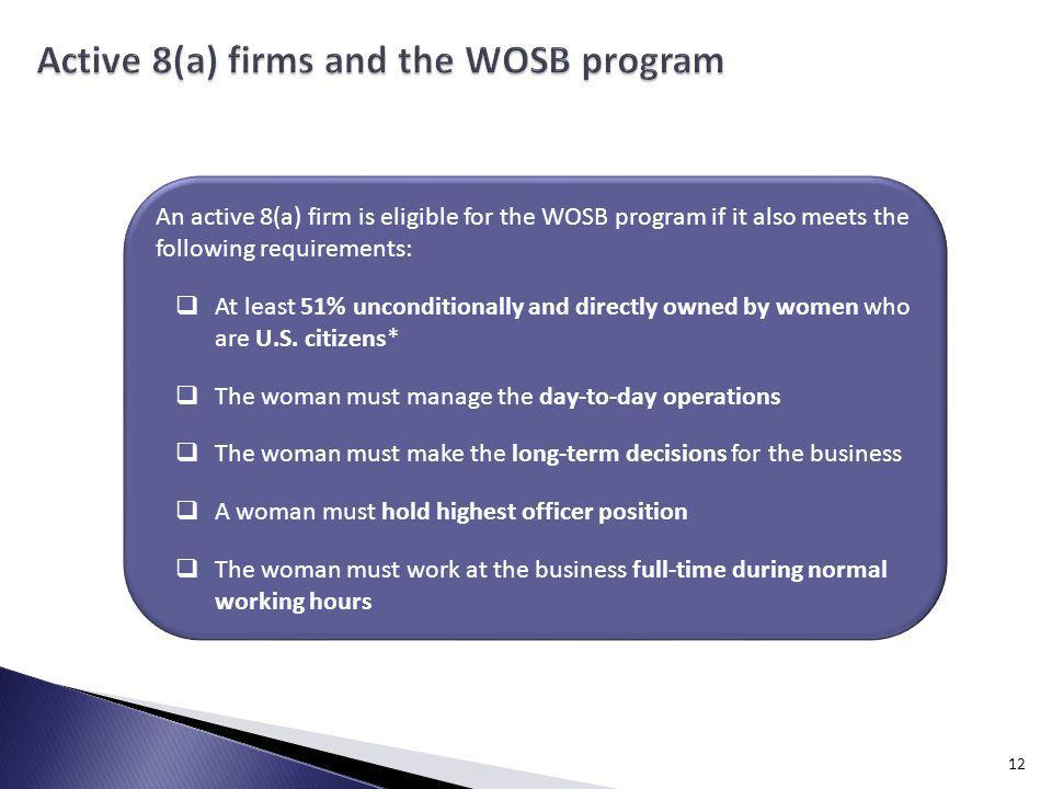 Active 8(a) firms and the WOSB program