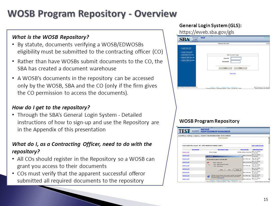 WOSB Program Repository - Overview