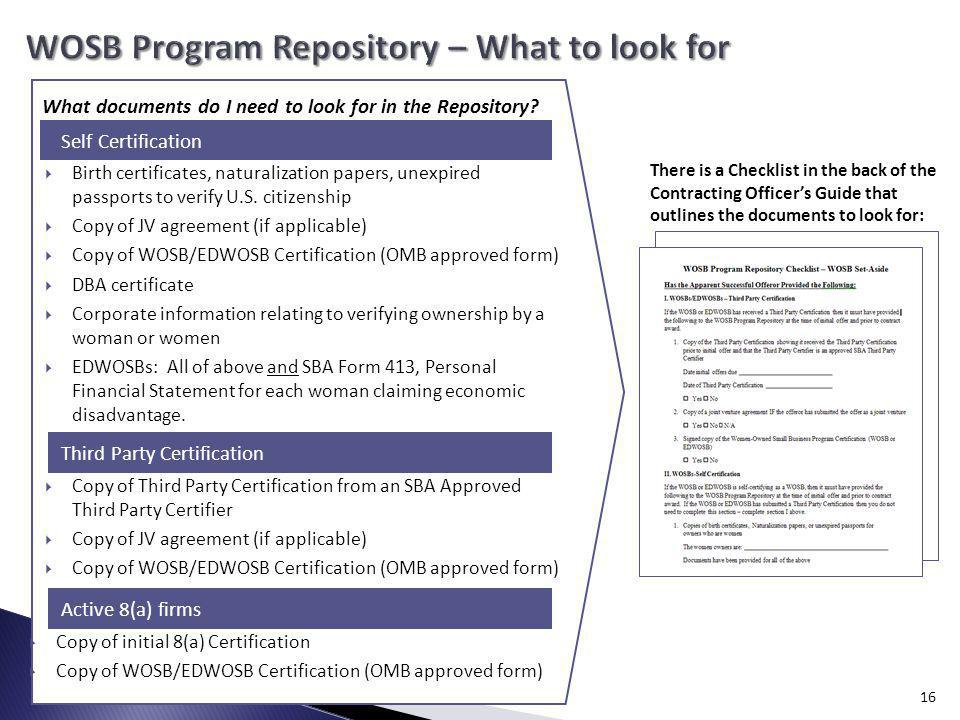 WOSB Program Repository – What to look for