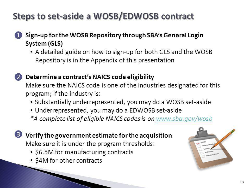 Steps to set-aside a WOSB/EDWOSB contract