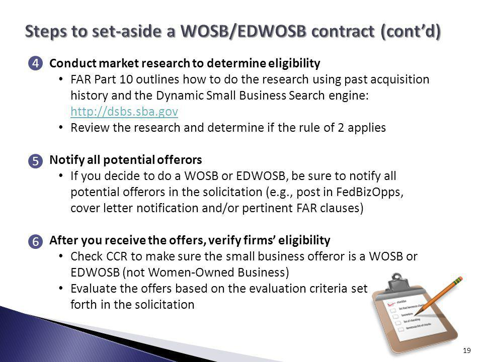 Steps to set-aside a WOSB/EDWOSB contract (cont'd)
