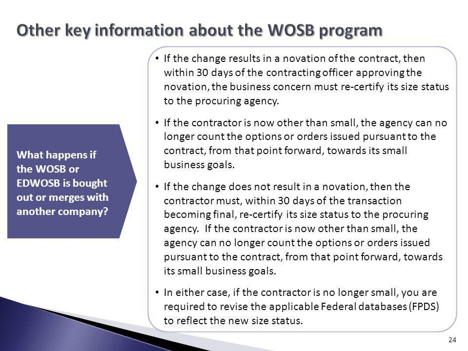 Other key information about the WOSB program