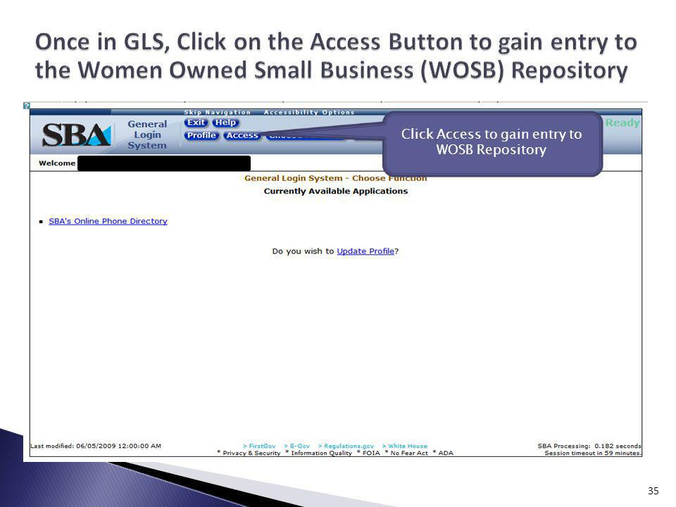 Click Access to gain entry to WOSB Repository