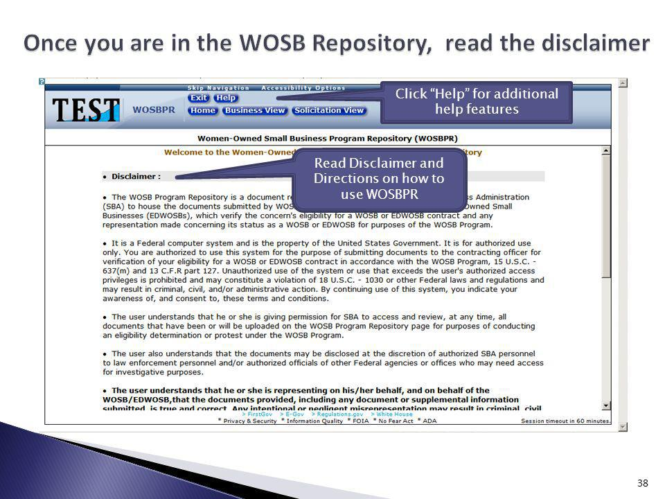 Once you are in the WOSB Repository, read the disclaimer