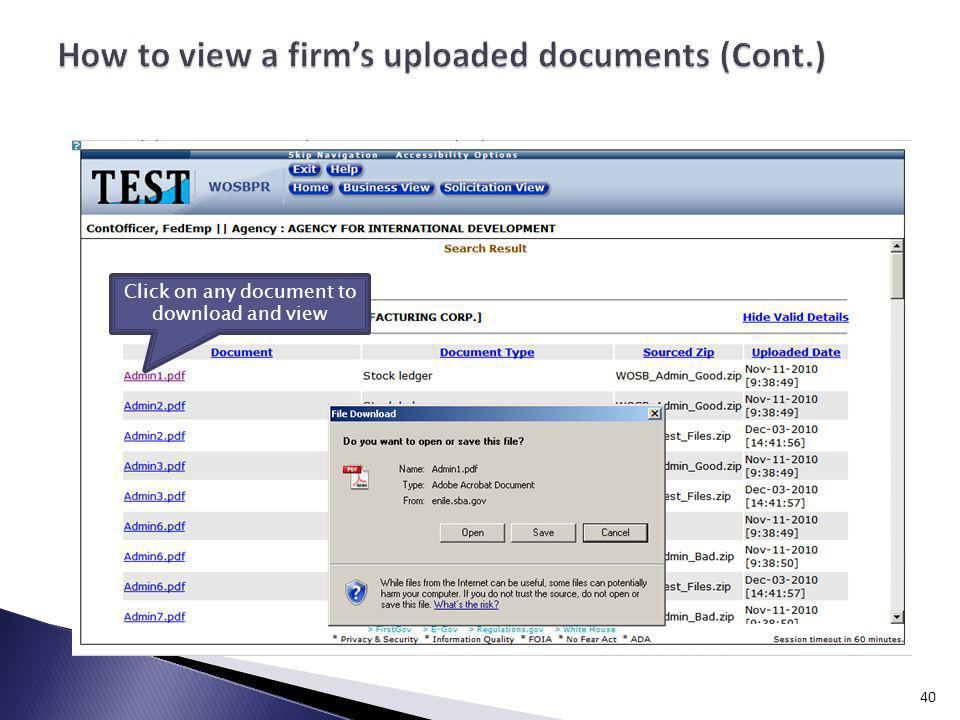 How to view a firm's uploaded documents (Cont.)