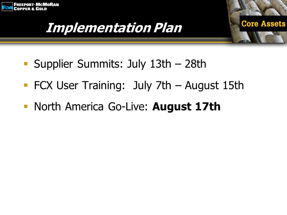 Implementation Plan Supplier Summits: July 13th – 28th