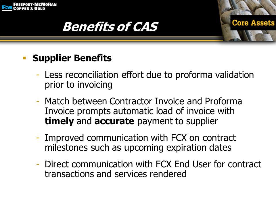 Benefits of CAS Supplier Benefits