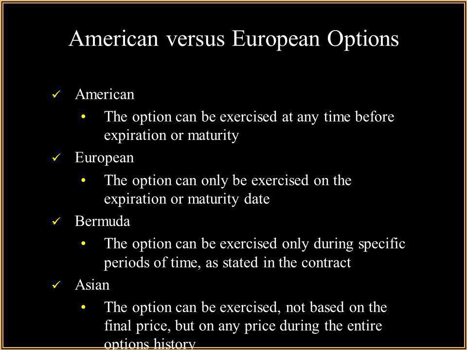 Fx options american vs european