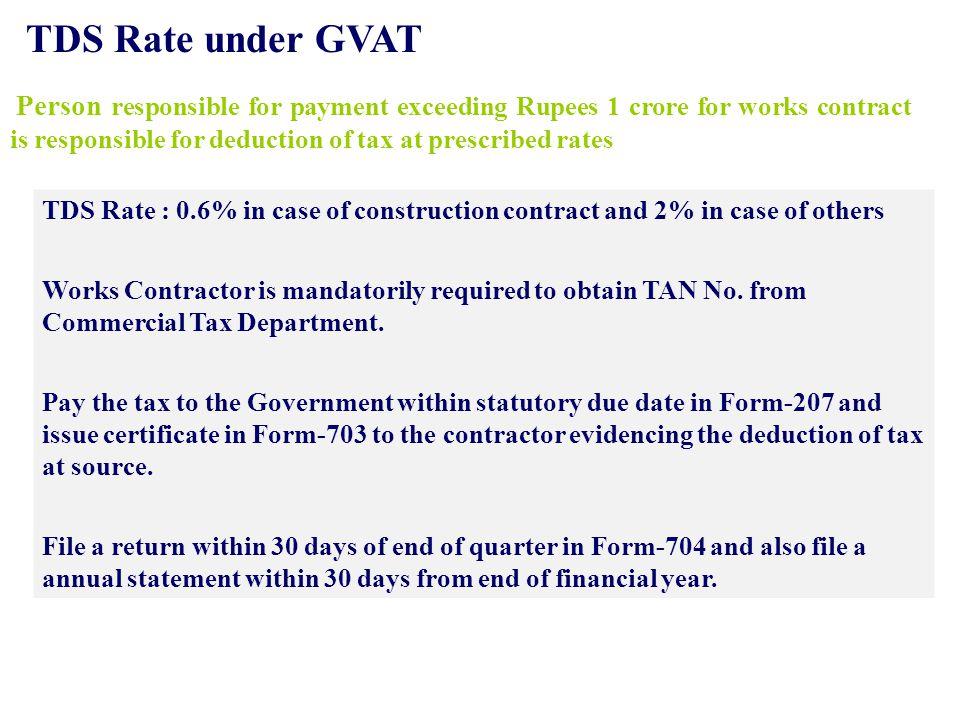 TDS Rate under GVAT