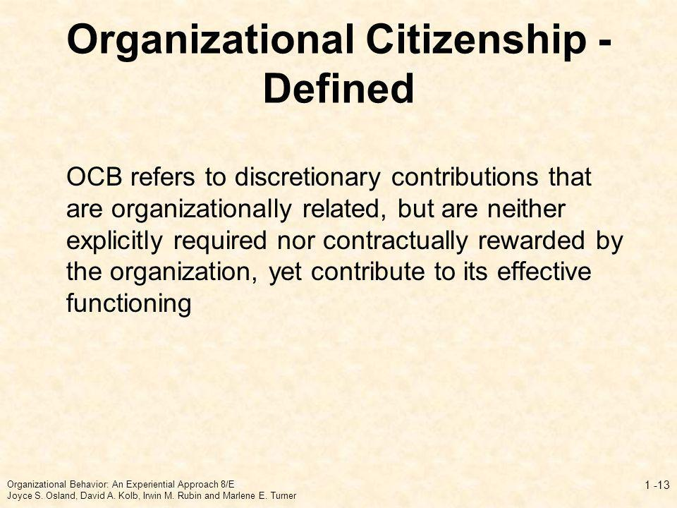 Organizational Citizenship - Defined
