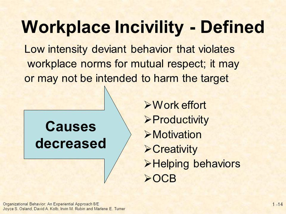 Workplace Incivility - Defined