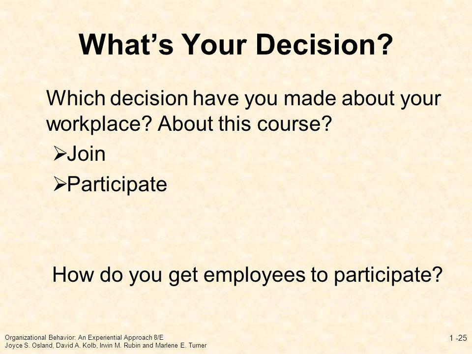 What's Your Decision Which decision have you made about your workplace About this course Join. Participate.