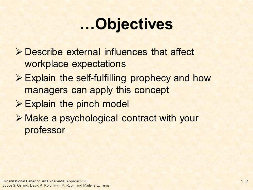 …Objectives Describe external influences that affect workplace expectations.