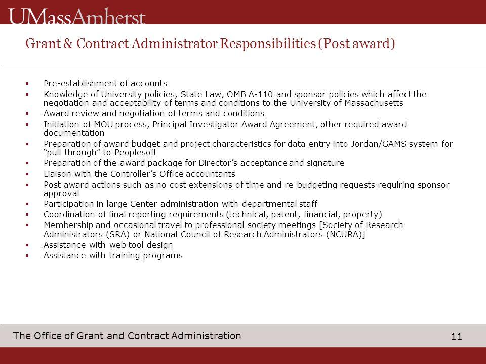 Grant & Contract Administrator Responsibilities (Post award)