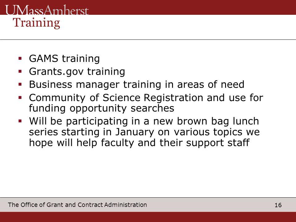 Training GAMS training Grants.gov training