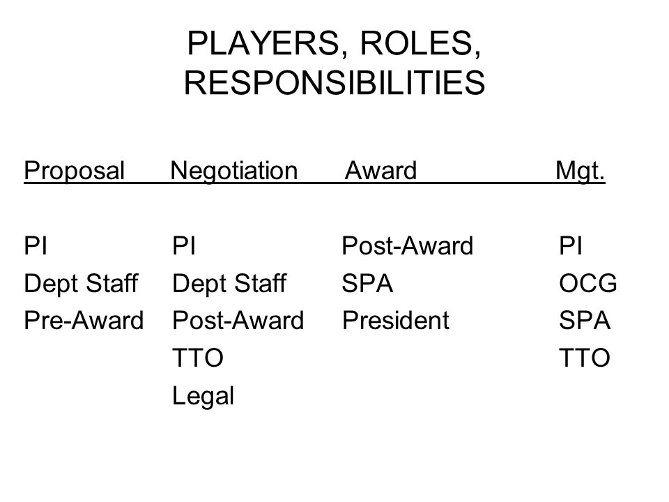 PLAYERS, ROLES, RESPONSIBILITIES