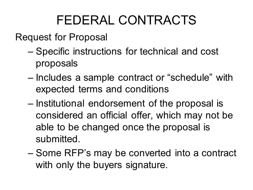 FEDERAL CONTRACTS Request for Proposal