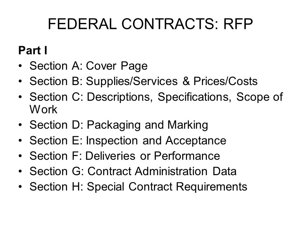 FEDERAL CONTRACTS: RFP