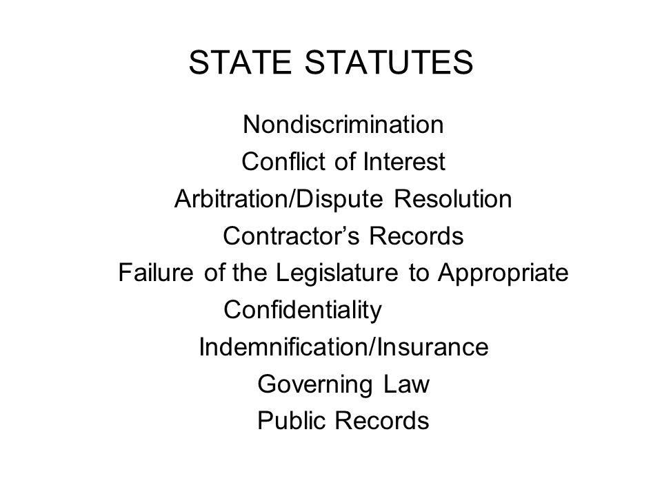 STATE STATUTES Nondiscrimination Conflict of Interest